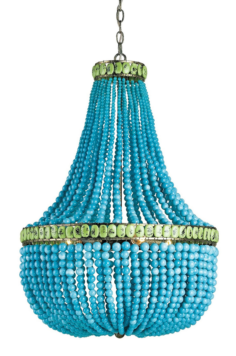 "Currey & Company ""Hedy"" Chandelier with Turquoise and Jade glass bead best traditional chandelier"