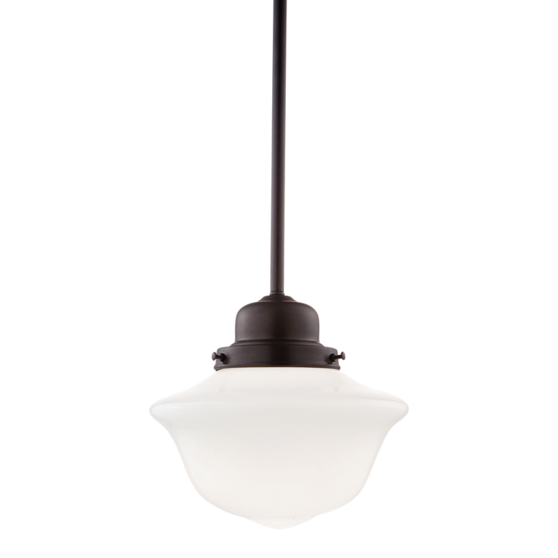 hudson valley pendant in old bronze this is a very simple pretty unadorned shaker style kitchen with functional schoolhouse type lighting