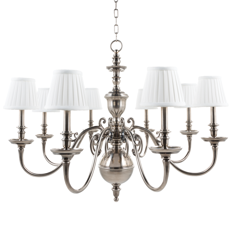 "Hudson Valley ""Charleston"" Chandelier in Historic Nickel neoclassical lighting"