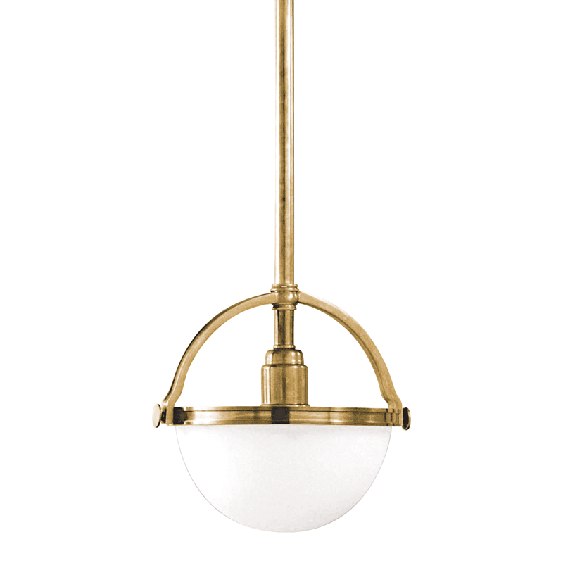 "Hudson Valley ""Stratford"" Pendant in Aged Brass neoclassical lighting"